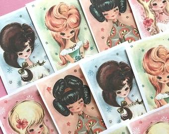 Vintage Ladies Stickers - Set of 16 - Handmade Stickers, Vintage Style, Cute Planner Stickers, Cute Girl Stickers, Love Stickers