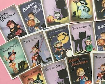 Vintage Halloween Stickers - Set of 18 - Handmade Stickers, Vintage Style, Vintage Halloween, Cute Witches, Planner Stickers, Cute Halloween