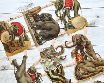 German Scraps - Elephants, Circus - Die Cuts, Cut Out, Vintage Style, Circus Ephemera, Elephants Ephemera, Junk Journal, Paper Ephemera