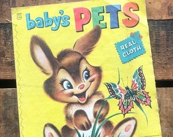 Vintage Cloth Book - Baby's Pets - Linen Book, Vintage Ephemera, Children's Book, Merrill Book, Paper Ephemera, Vintage Baby Book, Old Book