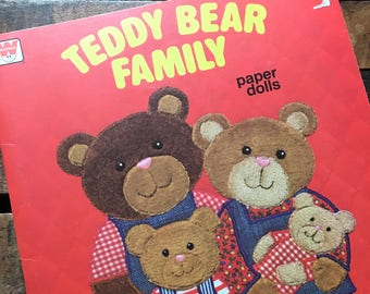Teddy Bear Family Paper Doll Book - Unused, Uncut - Vintage Paper Doll, Children's Book, 1980s Whitman Book, Crafts for Children, Bear Book