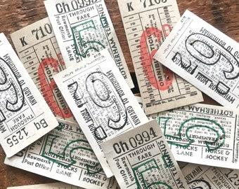 Vintage Bus Tickets - Set of 12 - Vintage Tickets, Vintage Ephemera, British Tickets, Junk Journal, Ticket Stubs, Travel Ephemera, Paper Lot