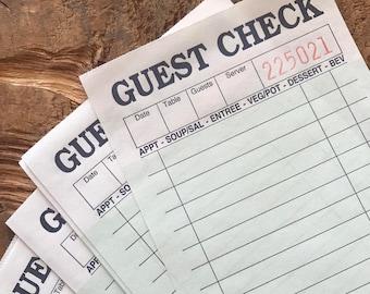 Green Guest Checks - Set of 25 - Junk Journal Paper, Journal Ephemera, Planner Supply, Craft Supply, Paper Ephemera, Journal Card, Receipts