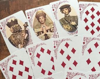Vintage Playing Cards - Set of 13 - Vintage Cards, Vintage Paper Ephemera, Junk Journal Ephemera, Old Paper Lot, Journal Cards, Diamonds Lot