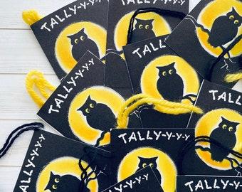 Vintage Tally Cards - Set of 2 - Halloween Ephemera, Junk Journal, Vintage Paper Lot, Vintage Owl Cards, Vintage Hallmark Halloween Tallies