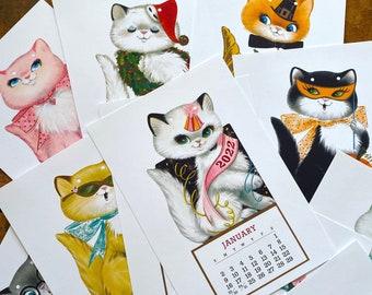 2022 Kitten Calendar - Vintage Style, Kitsch, Mini Calendar, Handmade Print, 2022 Calendar, 2022 Planner, Small Calendar, Vintage Kittens