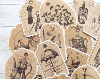 Victorian Tag Stickers - Set of 15 - Nature Stickers, Junk Journal Paper Ephemera, Planner Supplies, Nature Ephemera, Collage Stickers