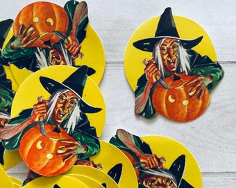 RARE Dennison Witch Seals - Set of 5 - Vintage Halloween Stickers, Vintage Dennison Seals, Dennison Halloween Seals, Halloween Ephemera
