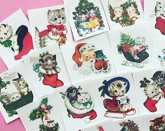 Kitten Stickers - Set of 18 - Handmade Stickers, Vintage Christmas, Cute Planner Stickers, Cute Christmas, Holiday Stickers, Vintage Kitten
