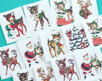 Deer Stickers - Set of 16 - Handmade Stickers, Vintage Christmas, Cute Planner Stickers, Cute Christmas, Holiday Stickers, Vintage Deer
