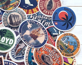 Travel Stickers - Set of 30 - Travel Ephemera, Junk Journal Paper, Craft Supplies, Traveler Lot, Airline Hotel, Luggage Labels, Baggage Tags