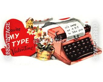 Vintage Digital Greeting Card: Pink Typewriter Valentine - Digital Download, Printable, Scrapbooking, Image, Clip Art
