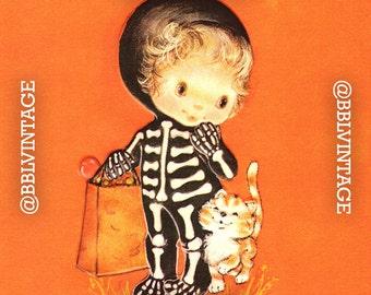 Vintage Digital Greeting Card: Cute Skeleton Girl with Kitten Halloween Card - Digital Download, Printable, Scrapbooking, Image, Clip Art