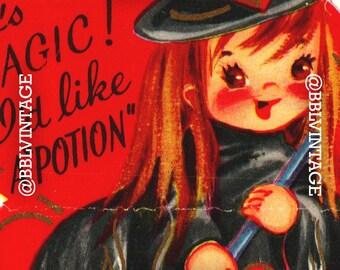 Vintage Digital Greeting Card: Witch Halloween Valentine - Digital Download, Printable, Scrapbooking, Image, Clip Art