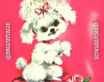 Vintage Digital Greeting Card: White Poodle on Hot Pink Background - Digital Download, Printable, Scrapbooking, Image, Clip Art