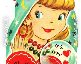 Vintage Digital Greeting Card: Gypsy / Fortune Teller Girl Halloween Valentine - Digital Download, Printable, Scrapbooking, Image, Clip Art
