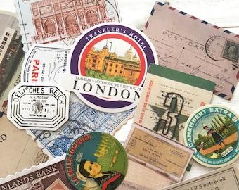 Travel Stickers - Set of 25 - Travel Ephemera, Junk Journal Paper Ephemera, Planner Supplies, Craft Supplies, Travel Lot, Traveler Notebook