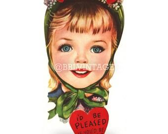 Vintage Digital Greeting Card: Cute Blonde Girl with Hearts Valentine - Digital Download, Printable, Scrapbooking, Image, Clip Art