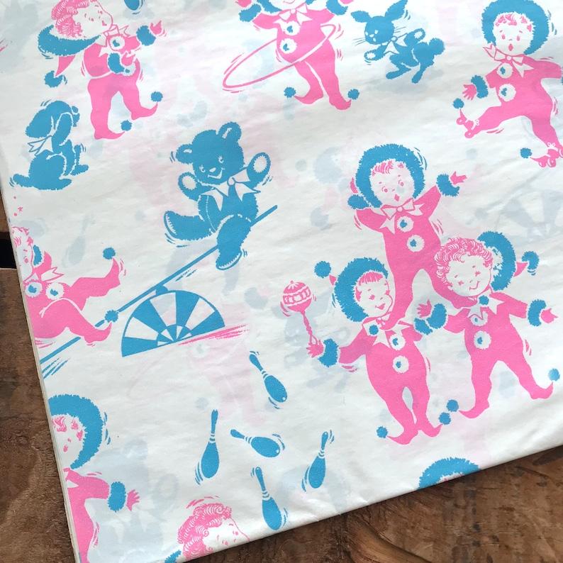 Baby Shower Paper Vintage Wrapping Paper Vintage Babies Paper Ephemera 1 Sheet Vintage Gift Wrap Unused Sheet Cute Baby Gift Wrap