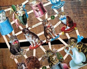 German Scraps - Cute Cats - Die Cuts, Cut Outs, Vintage Style, Vintage Inspired, Paper Ephemera, Reproduction, Cat Scrapbooking Paper