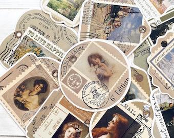 Stamp Stickers - Set of 15 - Nature Stickers, Junk Journal Paper Ephemera, Planner Supplies, Women Ephemera, Collage Tag Stickers