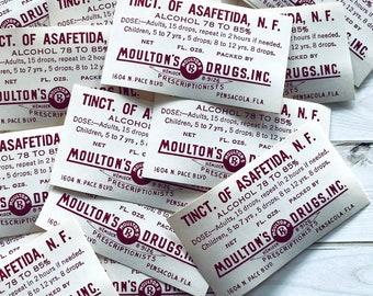 Vintage Pharmacy Labels - Set of 10 - Drug Store Labels, Vintage Halloween Ephemera, Apothecary Labels, Medicine Labels, Vintage RX Labels