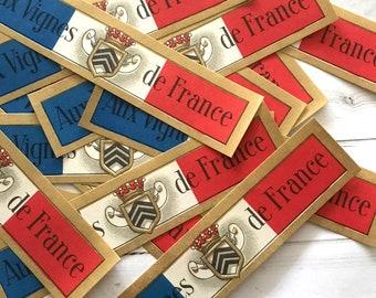 Vintage Wine Labels - Set of 20 - Vintage Labels, NOS Labels, Junk Journal, Paper Ephemera, Vintage Advertising, Vintage French Ephemera Lot