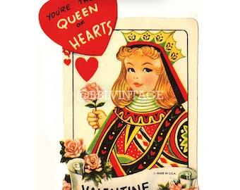 Vintage Digital Greeting Card: Queen of Hearts Playing Card Valentine - Digital Download, Printable, Scrapbooking, Image, Clip Art