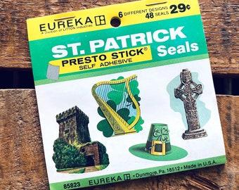 Vintage St. Patrick's Day Stickers - Shamrock Stickers, Presto Stick Stickers, Vintage Seals, Paper Ephemera, Green Ephemera, Junk Journal