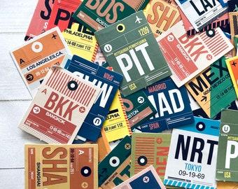 Travel Stickers - Set of 46 - Airline Ephemera, Junk Journal Paper Ephemera, Craft Supplies, Travel Ephemera, Airport Stickers, Planner Lot