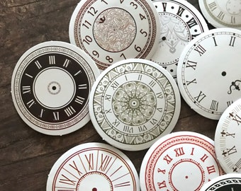 Clock Stickers - Set of 45 - Clock Face Dials, Junk Journal Paper Ephemera, Planner Supplies, Craft Supplies, Travel Stickers, Time Stickers