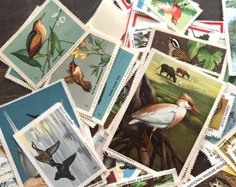 Vintage Bird Stamps - Random Set of 15 - Vintage Stamps, Altered Art, Junk Journal, Vintage Ephemera, Paper Ephemera, Bird Ephemera, Collage