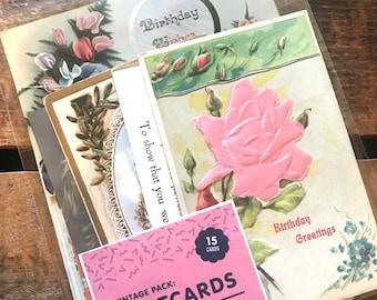 Vintage Postcards - Set of 15 Used Postcards - Old Postcards, Paper Ephemera, Altered Art, Craft Supplies, Junk Journal, Collage, Old Paper