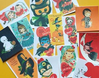 Vintage Halloween Stickers - Set of 14 - Handmade Stickers, Vintage Style, Vintage Halloween, Journal, Planner Stickers, Cute Halloween