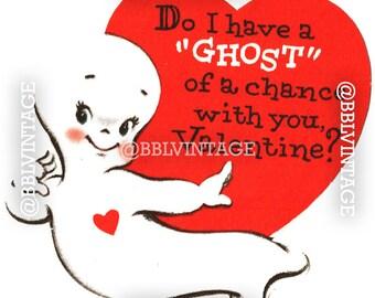 Vintage Digital Greeting Card: Casper the Ghost Halloween Valentine - Digital Download, Printable, Scrapbooking, Image, Clip Art