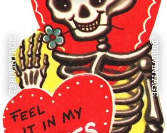 Vintage Digital Greeting Card: Skeleton Bones Halloween Valentine - Digital Download, Printable, Scrapbooking, Image, Clip Art