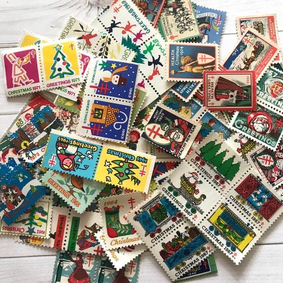 Vintage Christmas Illustrations.Vintage Christmas Stamps Seals Set Of 115 Christmas Illustrations Christmas Gummed Seals Christmas Charity Seals Vintage Ephemera