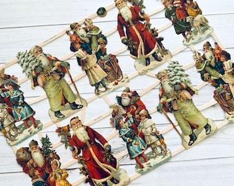 German Scraps - Christmas, Santa - Die Cuts, Cut Outs, Reproduction, Junk Journal Ephemera, Paper Ephemera, Christmas Ephemera, Santa Paper