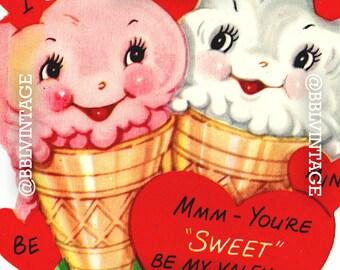 Vintage Digital Greeting Card: Anthropomorphic Ice Cream Valentine - Digital Download, Printable, Scrapbooking, Image, Clip Art