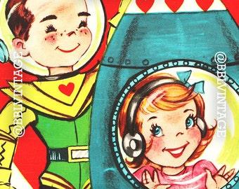 Vintage Digital Greeting Card: Retro Space Children Valentine - Digital Download, Printable, Scrapbooking, Image, Clip Art, Digital Print