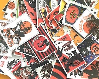 Vintage Halloween Stickers - Set of 49 - Handmade Stickers, Halloween Bag, Vintage Halloween, Cute Witches, Planner Stickers, Cute Halloween