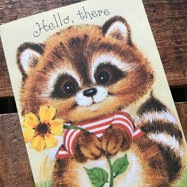 Vintage Raccoon Get Well Greeting Card - Unused - Vintage Get Well Card, Thinking of You Card, Vintage Animal Card, Vintage Unused Card
