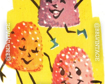 Vintage Digital Card: Anthropomorphic Gum Drops - Cute Printable Image, Instant Digital Download, Scrapbooking, Clip Art
