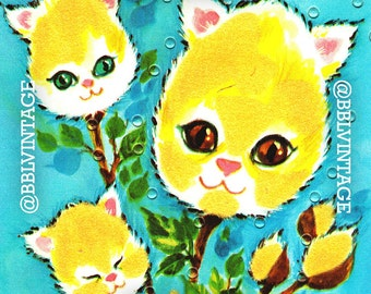 Vintage Digital Card: Anthropomorphic Kitten Head Flowers - Cute Printable Image, Instant Digital Download, Scrapbooking, Clip Art
