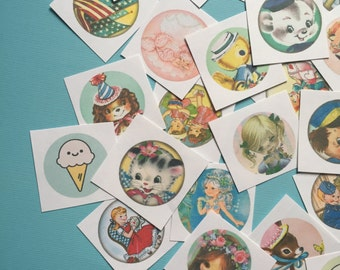 Cute Handmade Stickers - Random Set of 50 - Stocking Stuffer, Vintage Style, Retro, Kitsch, Journal, Planner, Cute Animals, Cute Children