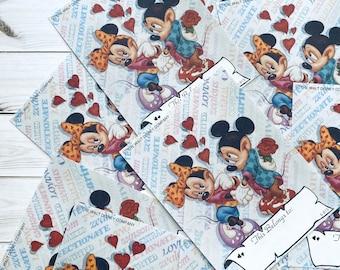 Vintage Disney Bookplates - Set of 6 - Vintage Bookplates, Mickey Mouse Bookplates, Vintage Book Plates, Book Labels, Walt Disney, Minnie