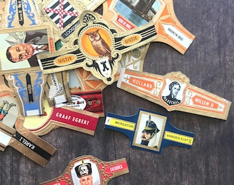 Vintage Cigar Labels - Set of 10 - Cigar Bands, Vintage Ephemera, Paper Ephemera, Tobacco Ephemera, Junk Journal, Craft Supply, Old Labels