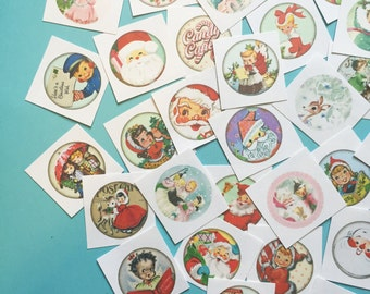 Cute Christmas Stickers - Random Set of 50 - Stocking Stuffer, Vintage Style, Retro, Kitsch, Journal, Planner Stickers, Vintage Christmas