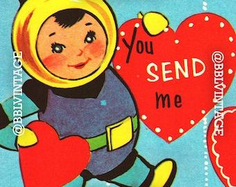 Vintage Digital Greeting Card: Mod Retro Children in Outer Space Valentine - Digital Download, Printable, Scrapbooking, Image, Clip Art