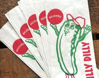 Food Bags - Set of 10 - Paper Bag, Treat Bag,  Merchandise Bags, Pickle Bags, Junk Journal Paper Supply, Craft Supplies, Paper Ephemera